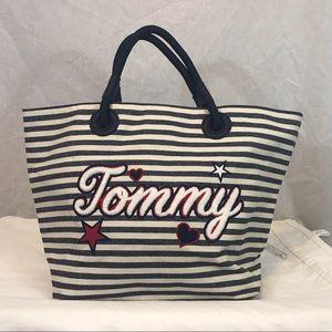 Tommy Hilfiger Striped White Beach Tote